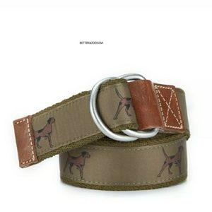 Cremieux Mens O Ring Cotton Dog Print Belt NWT